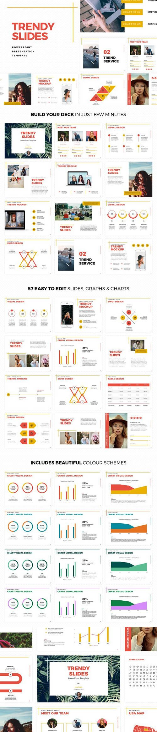 Trendy Slides PowerPoint Template 1328744