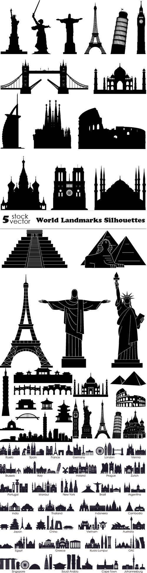 Vectors - World Landmarks Silhouettes