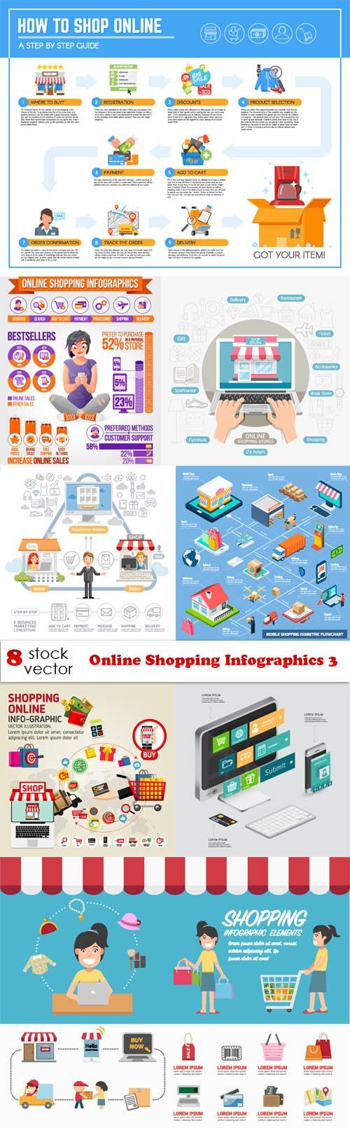 Vectors - Online Shopping Infographics 3
