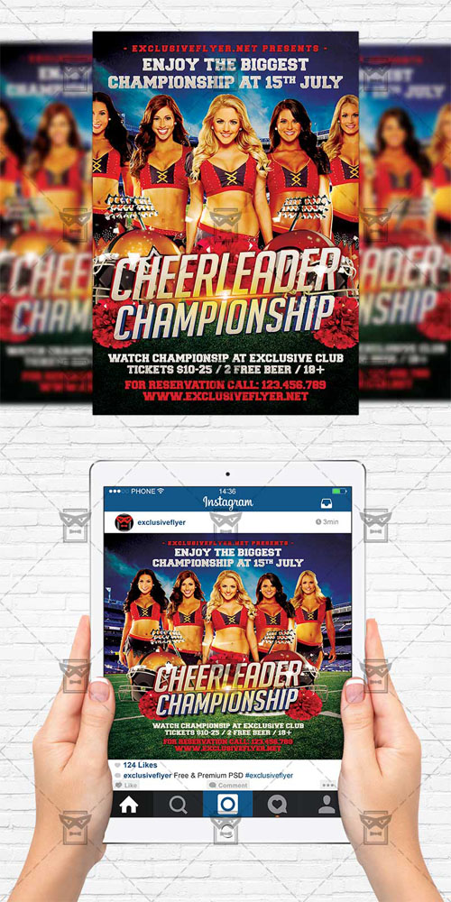 Flyer Template + Instagram Flyer - Cheerleader Championship