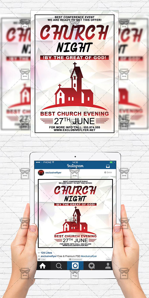 Flyer Template + Instagram Flyer - Church Night