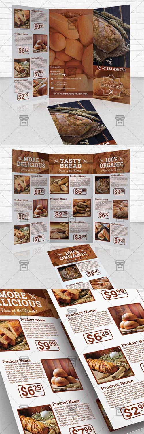 Trifold Brochure Template - Bakery Food