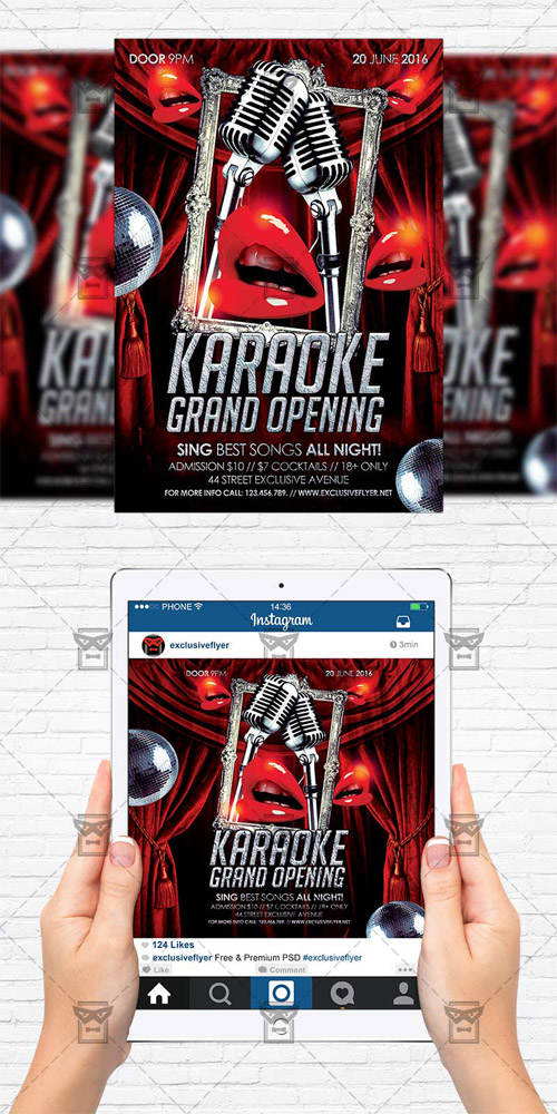 Flyer Template + Instagram Flyer - Karaoke Grand Opening