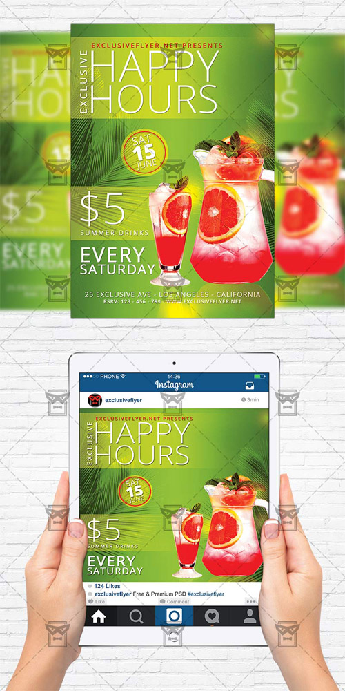 Flyer Template + Instagram Flyer - Exclusive Happy Hours
