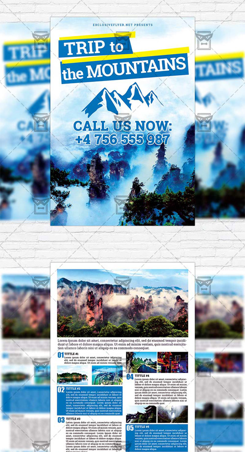 Two-Sided Flyer Template - Trip to the Mountains
