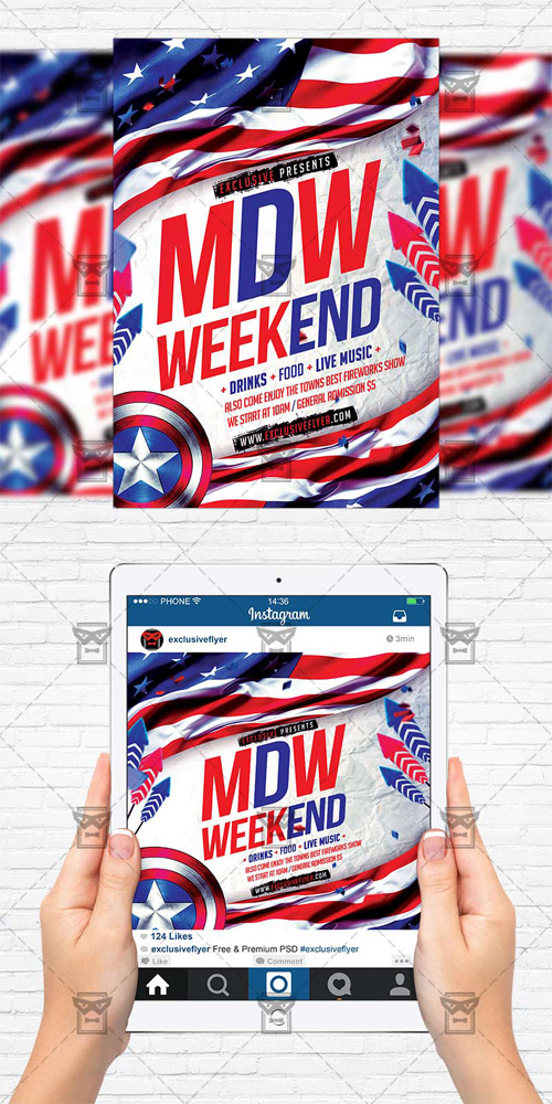 Memorial Day Weekend - Flyer Template + Instagram Size Flyer