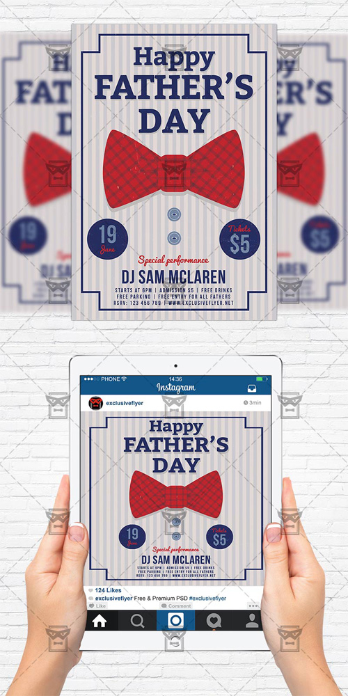 Fathers Day - Flyer Template + Instagram Size Flyer