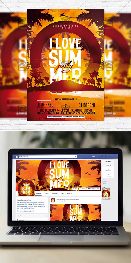 I Love Summer Party - Flyer Template + Instagram Size Flyer