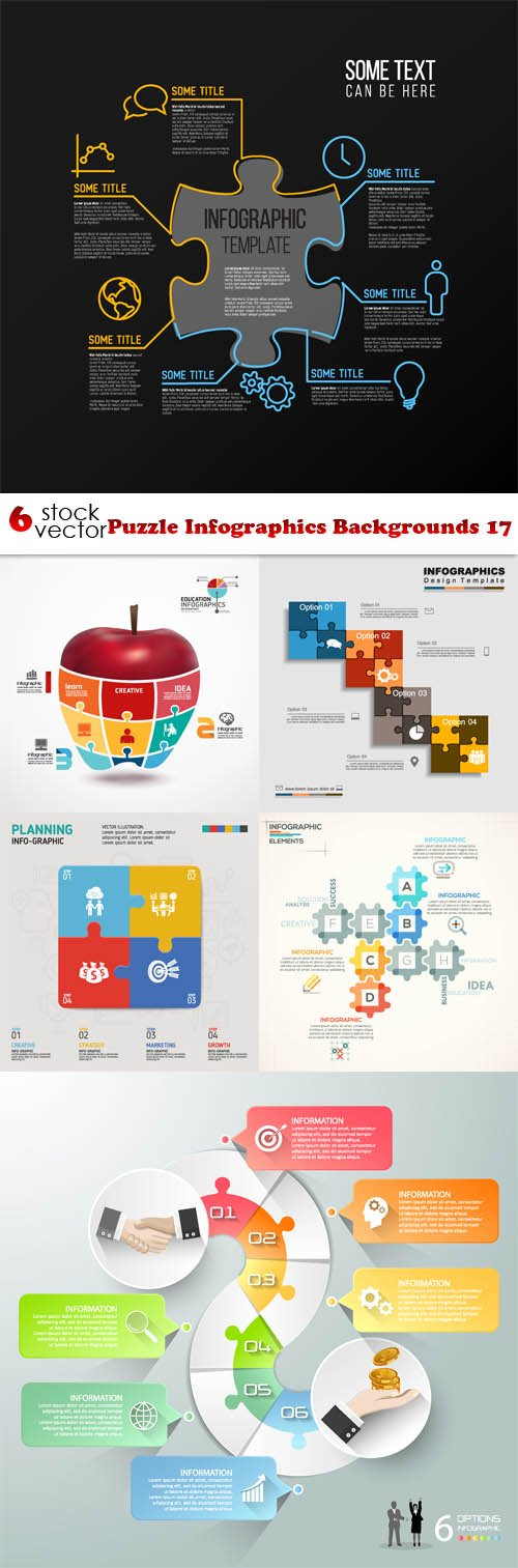 Vectors - Puzzle Infographics Backgrounds 17