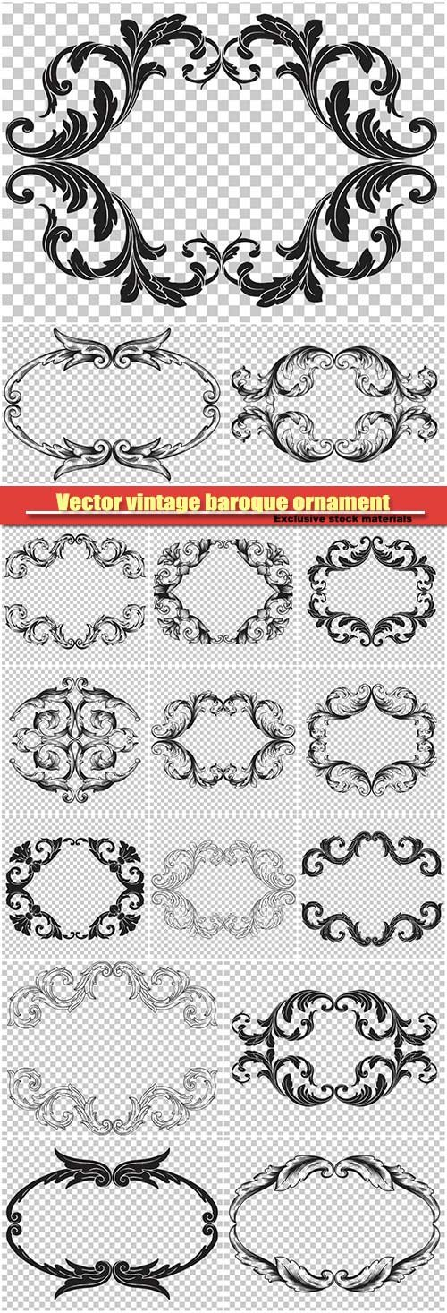Vector vintage baroque ornament retro pattern antique style acanthus