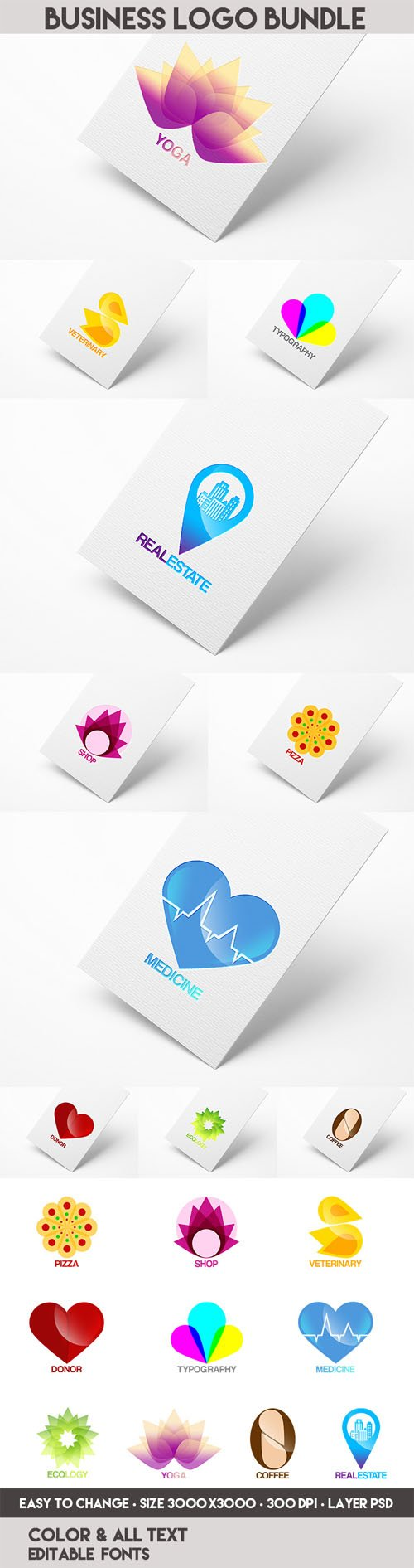 10 Business Logo Bundle PSD Templates