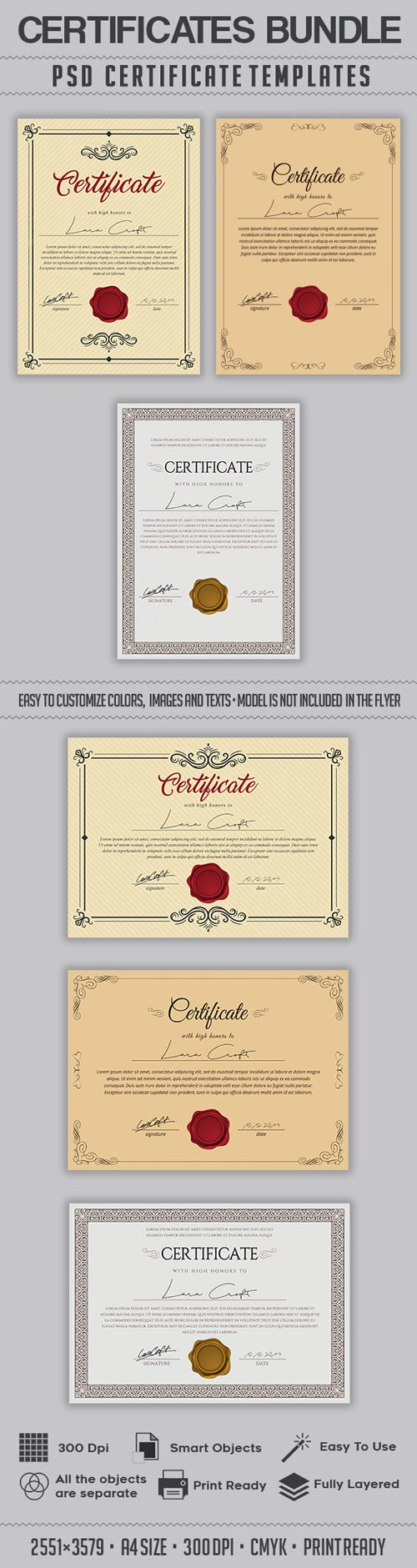Multipurpose Certificates PSD Bundle Templates