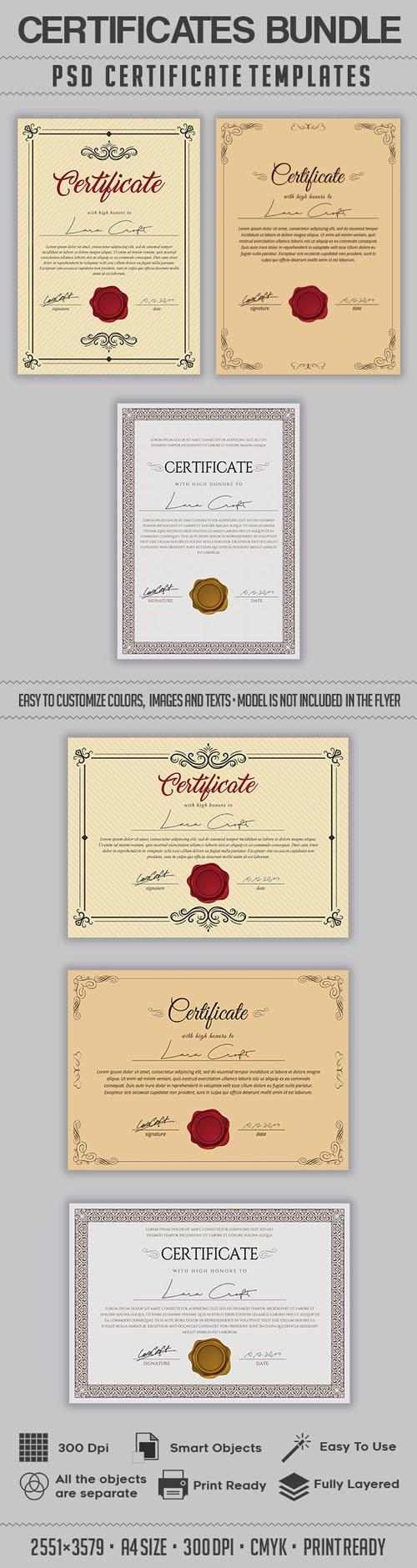 Multipurpose Certificates PSD Bundle Templates