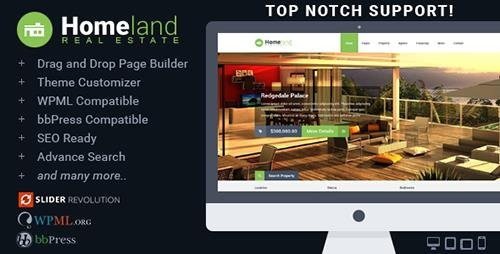 ThemeForest - Homeland v3.1.2 - Responsive Real Estate Theme for WordPress - 6518965