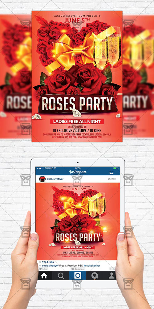 Flyer Template + Instagram Size Flyer - Roses Party