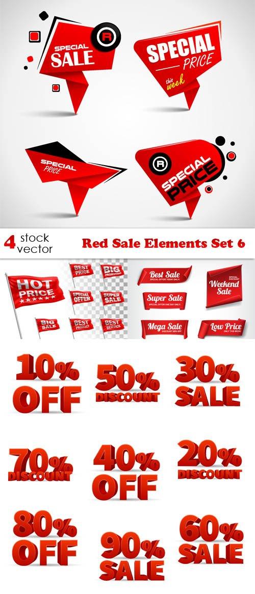 Vectors - Red Sale Elements Set 6