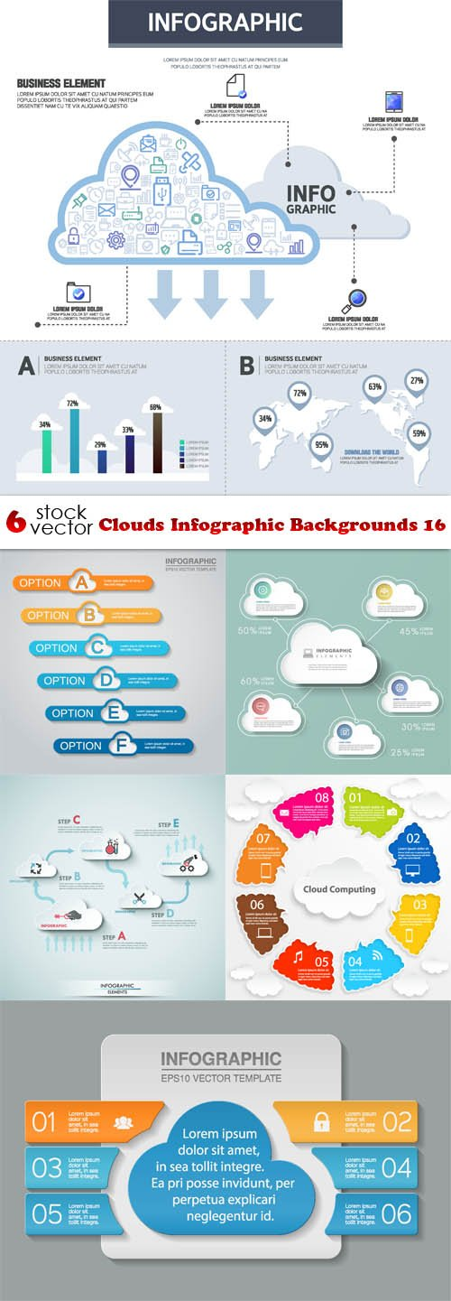Vectors - Clouds Infographic Backgrounds 16