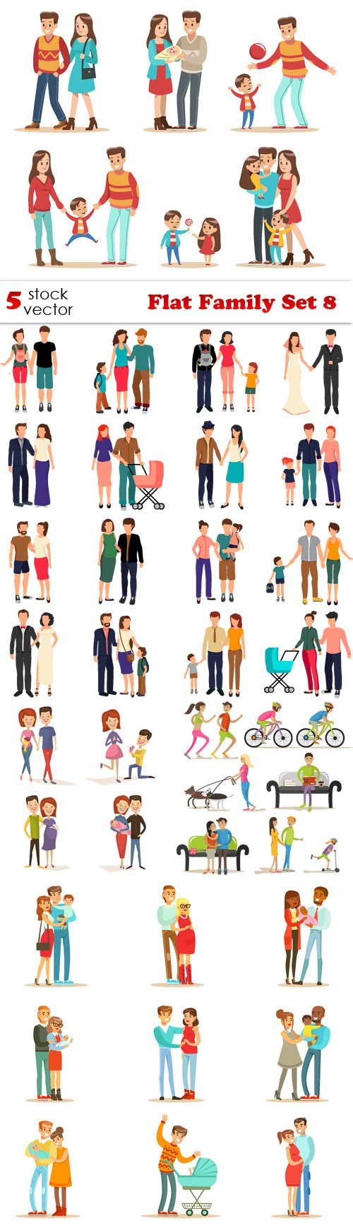 Vectors - Flat Family Set 8