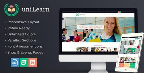 ThemeForest - UniLearn v1.0.2 - Education and Courses Template - 13731004