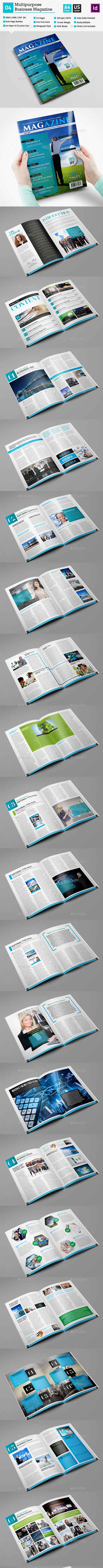 Multipurpose Magazine Template Indesign 52 Page V4 10823679