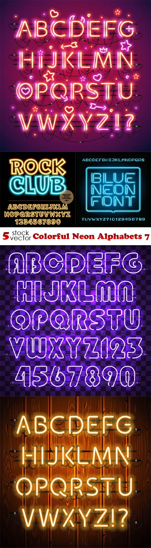 Vectors - Colorful Neon Alphabets 7