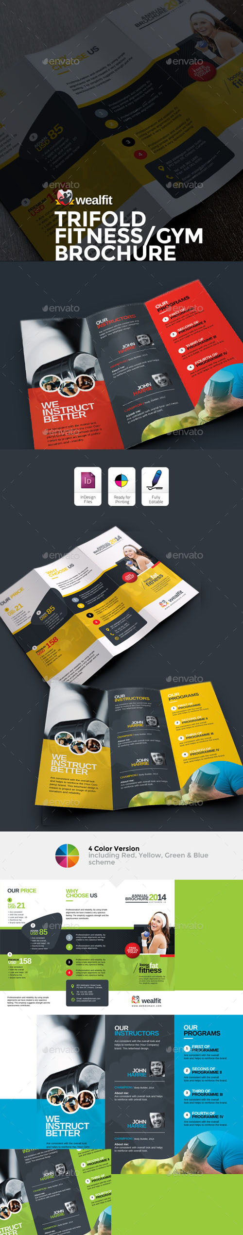 WealFit | Fitness - Gym Trifold Brochure 10092601
