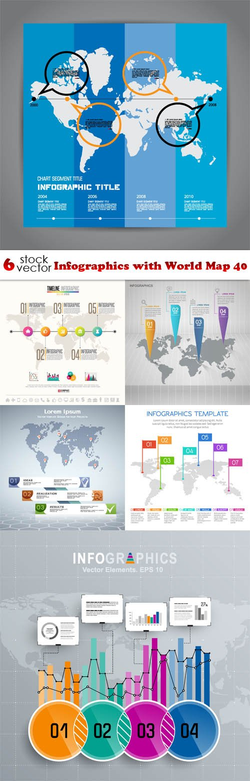 Vectors - Infographics with World Map 40