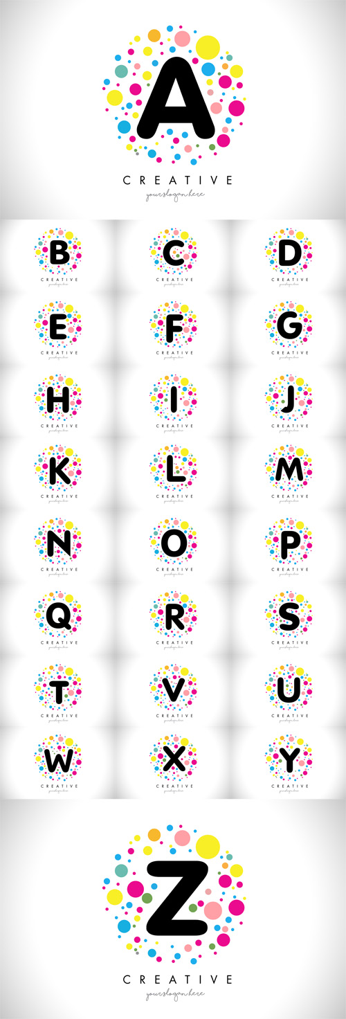 Vector Bubble Dots Letter Logos Design with Creative Colorful Bubbles