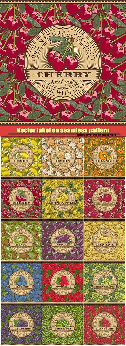 Vector label on seamless pattern in vintage style