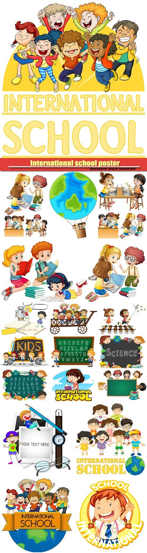 Frame template with boy and girl, international school poster with many children