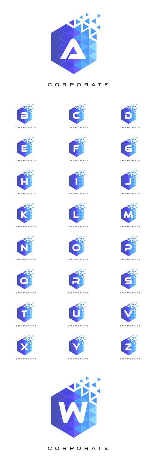 Vector Blue Hexagonal Letter Logos Design with Mosaic Pattern