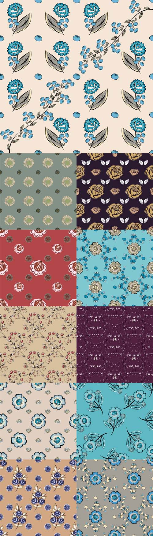 Vector Abstract Flowers Seamless Pattern Backgrounds