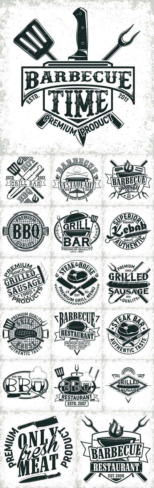 Vector Barbeacue Vintage Logos Design