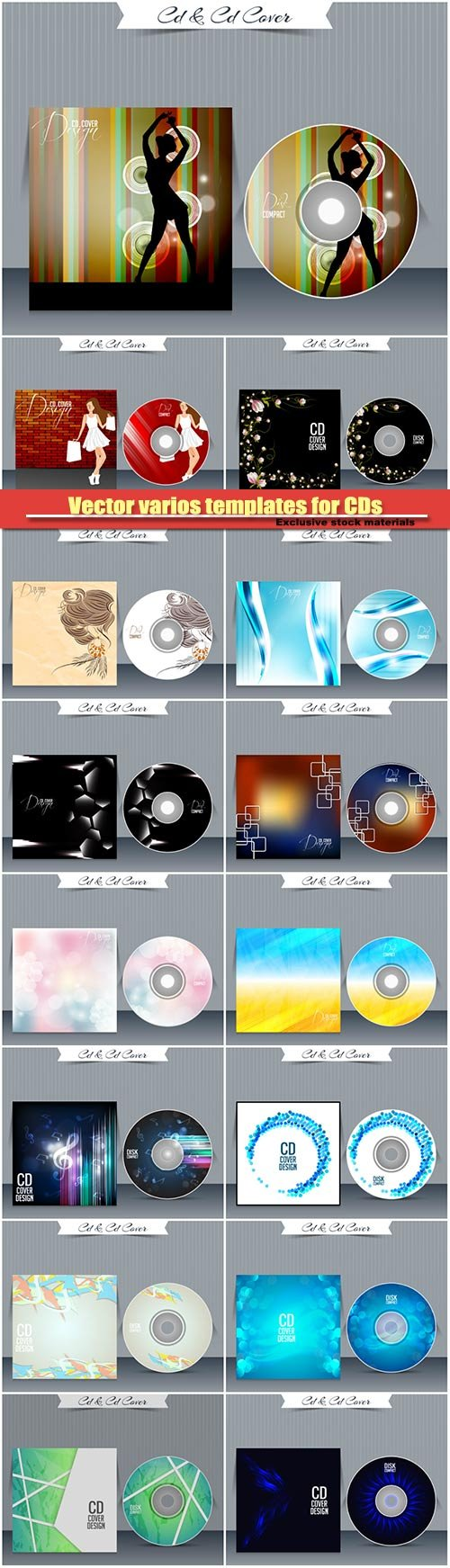 Vector various templates for CDs