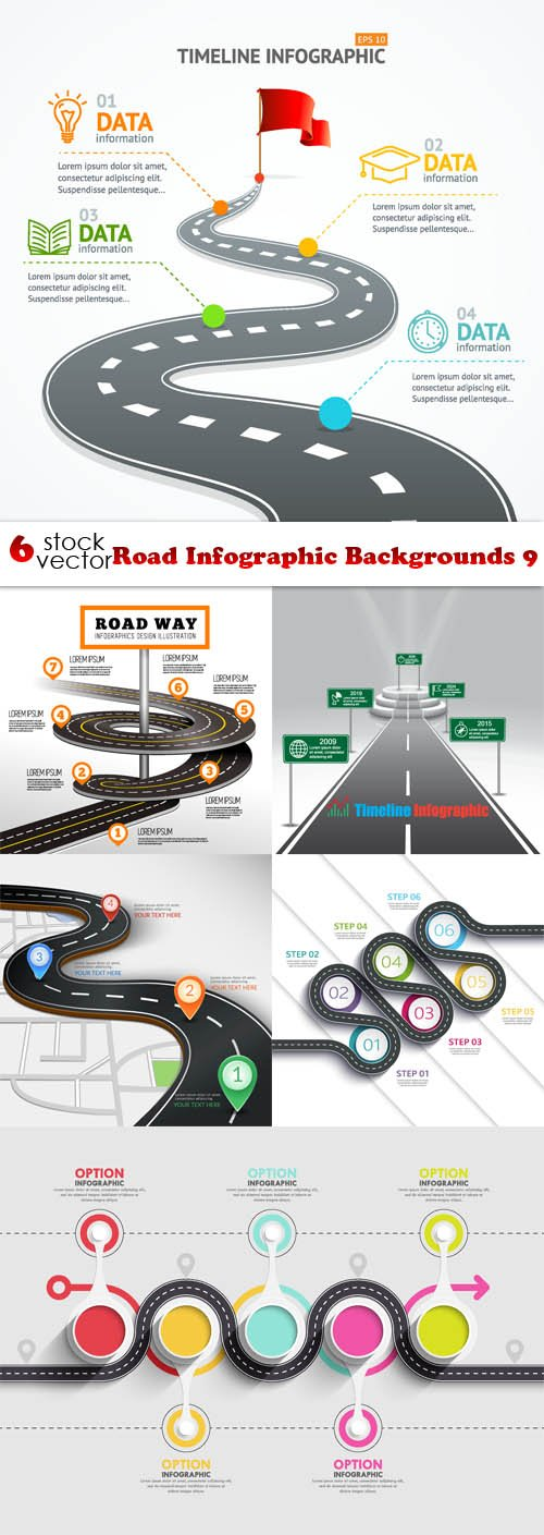 Vectors - Road Infographic Backgrounds 9