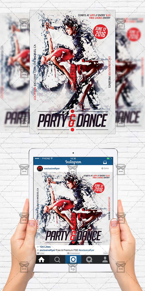 Flyer Template + Instagram Size Flyer - Party and Dance
