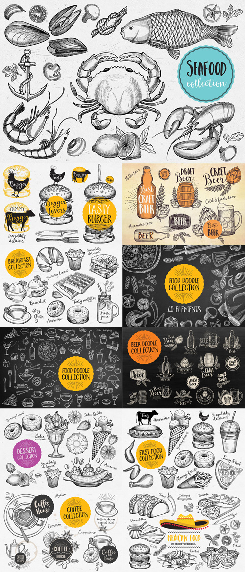 Vector Food Doodle Elements
