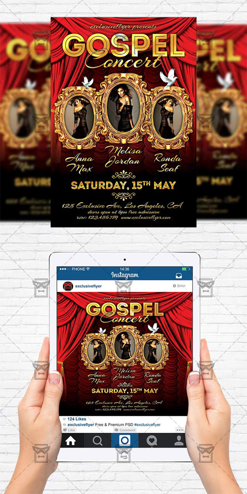 Flyer Template + Instagram Size Flyer - Gospel Concert