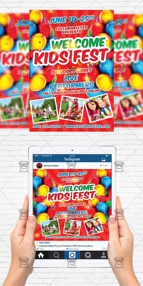 Flyer Template + Instagram Size Flyer - Kids Fest