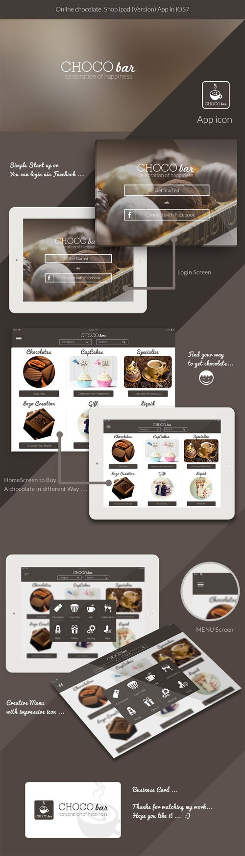 Bakery / CHOCO bar - iPad App UI Kit PSD Template