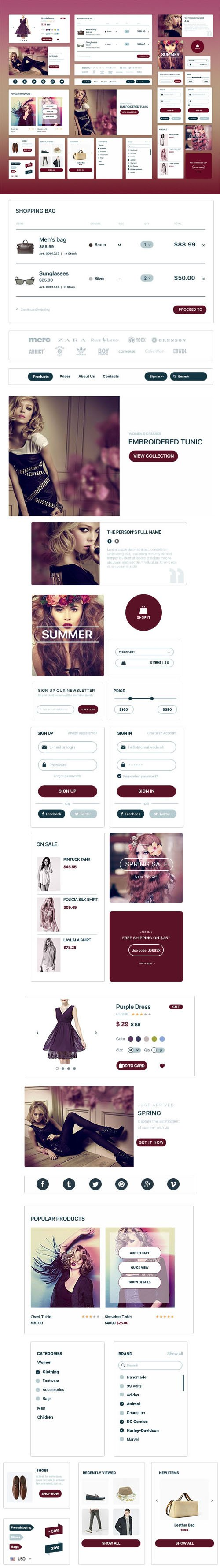 Elegant Fashion eCommerce UI Kit PSD Templates
