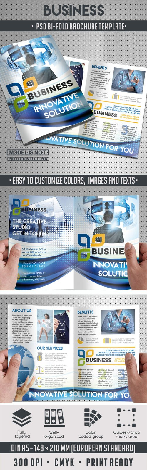 Corporate Business Bi-Fold Brochure PSD Template
