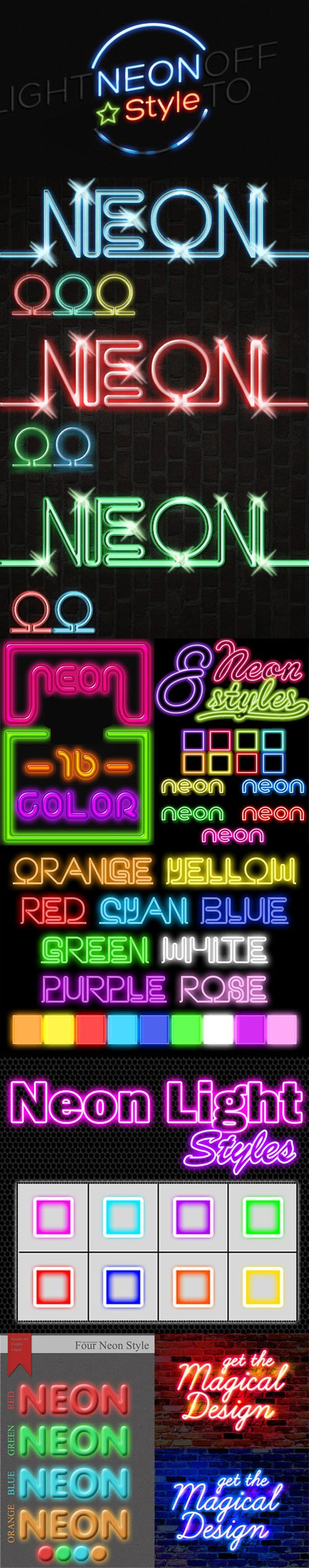 Neon Ligth Styles for Photoshop