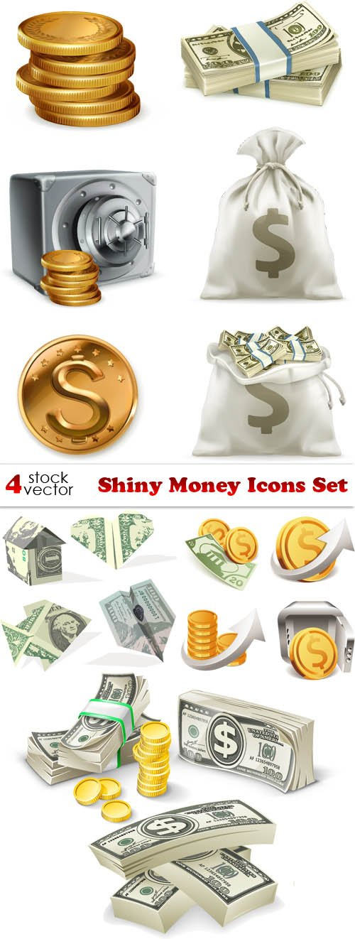 Vectors - Shiny Money Icons Set
