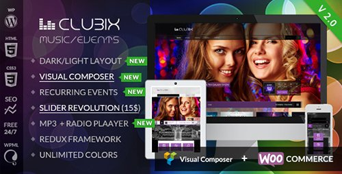 ThemeForest - Clubix v2.2.4 - Nightlife, Music & Events WordPress Theme - 6098535