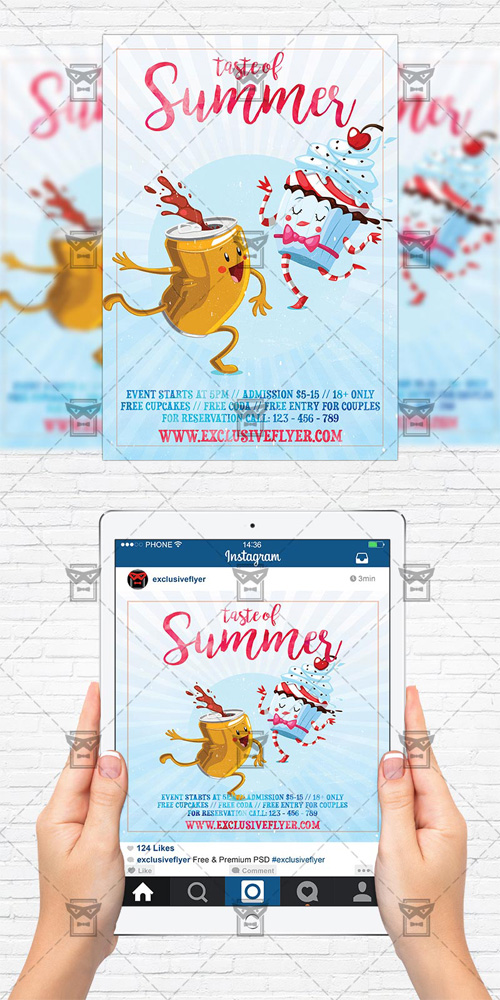 Flyer Template + Instagram Size Flyer - Taste of Summer