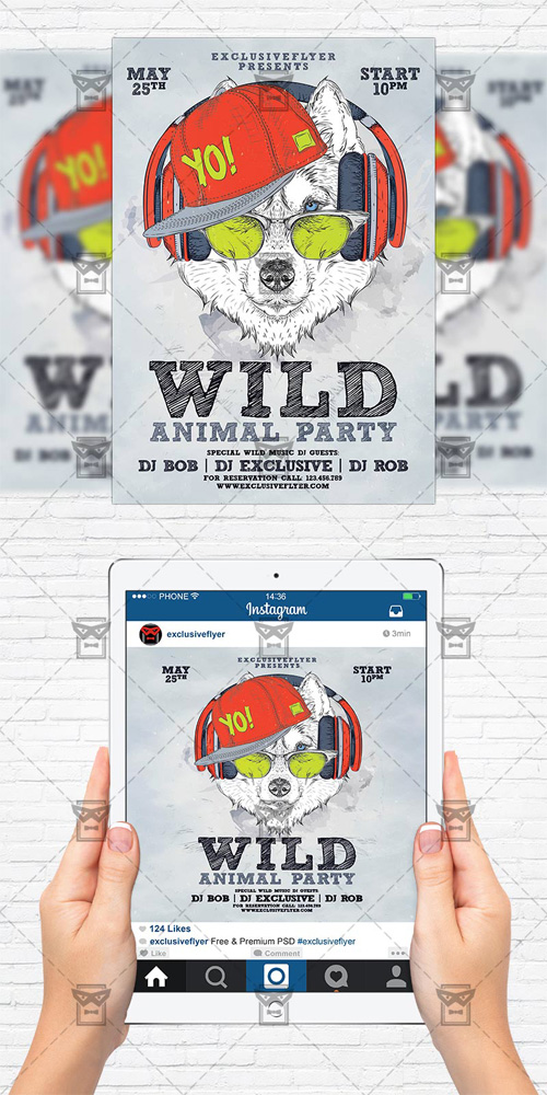 Flyer Template + Instagram Size Flyer - Animal Wild Party