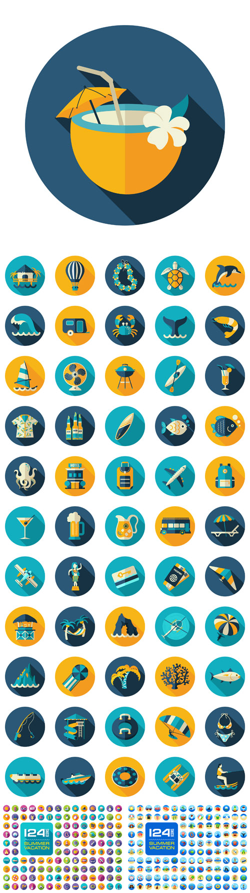 Vector Summer Vacation Flat Icons