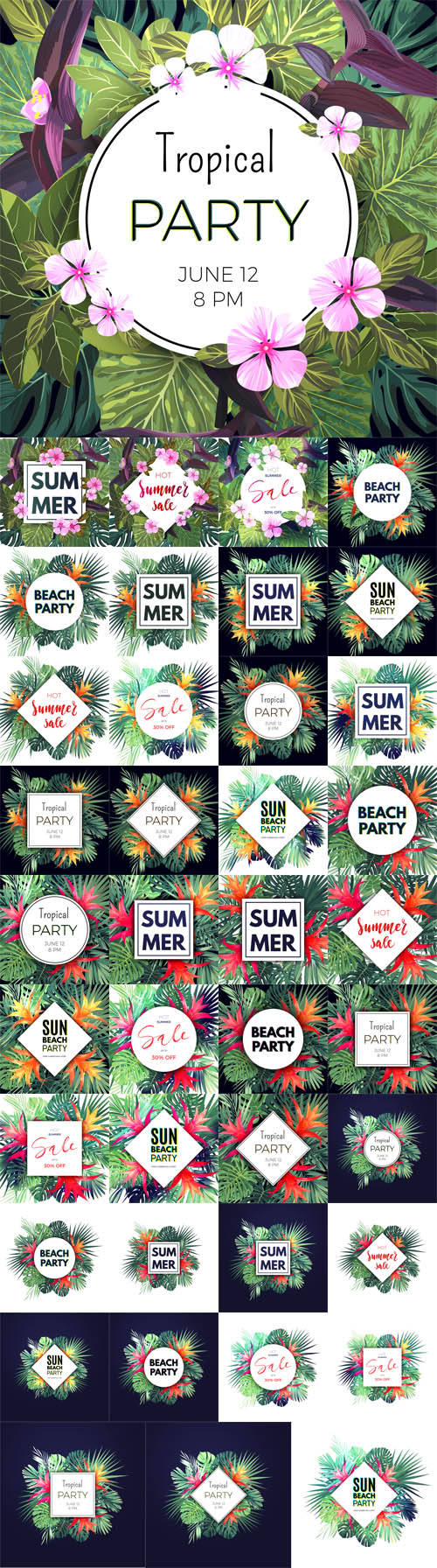 Vector Summer Hawaiian Flyers Design with Green Tropical Plants and Palm Leaves 2