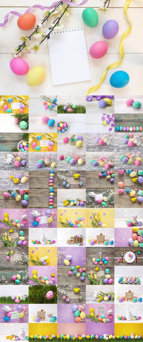 Photos Easter Decorations with Message Happy Easter, Spotted eggs, Rabbit and Tulips
